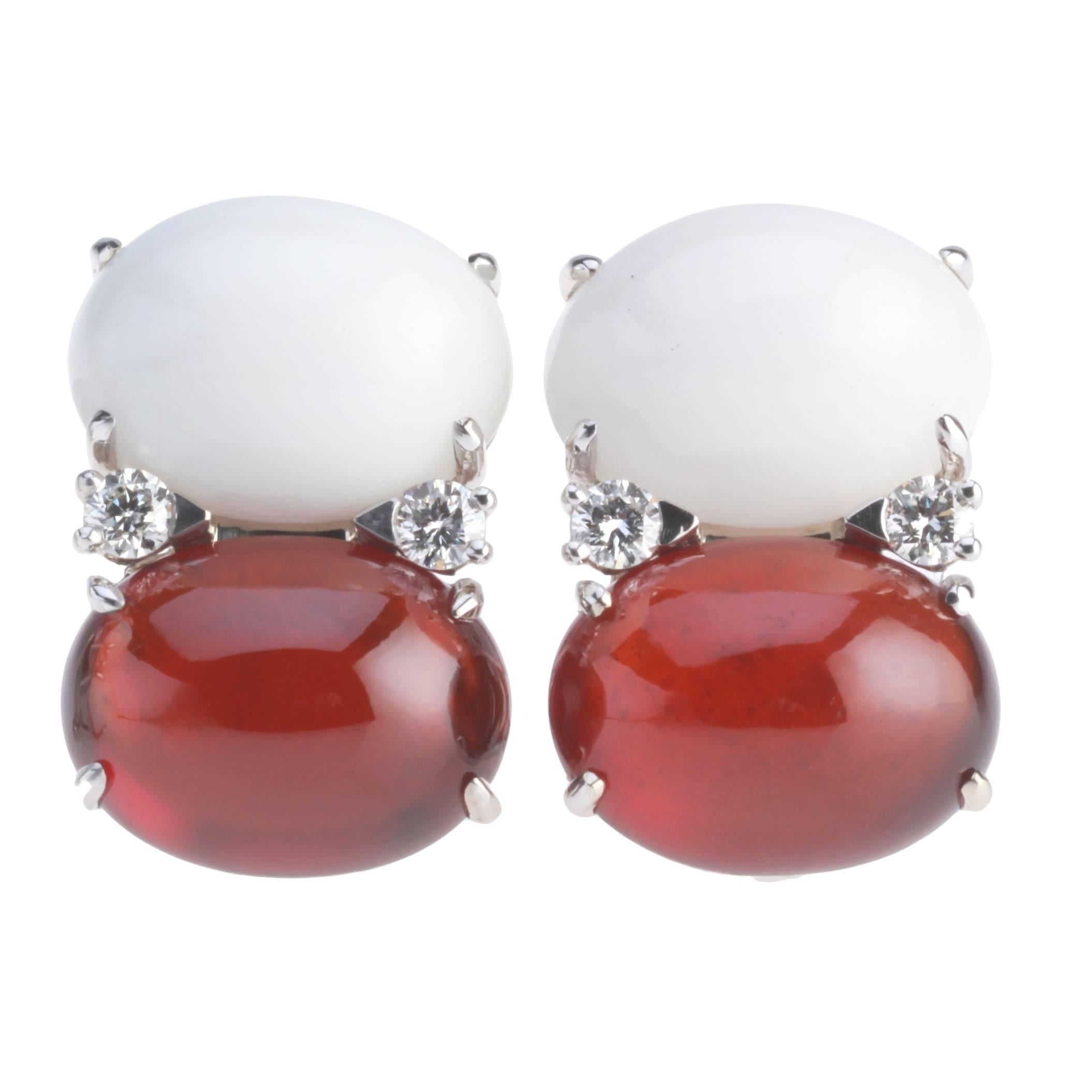 Jumbo GUM DROP™ Earrings with Cabochon White Jade and Garnet and Diamonds