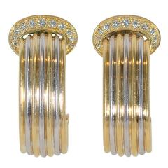 Cartier Diamond Two Color Gold Double C Earrings