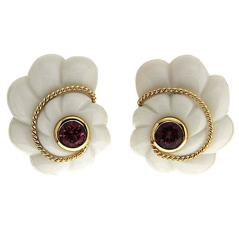 Pink Tourmaline Gold Cocolon Scalloped Shell Earrings