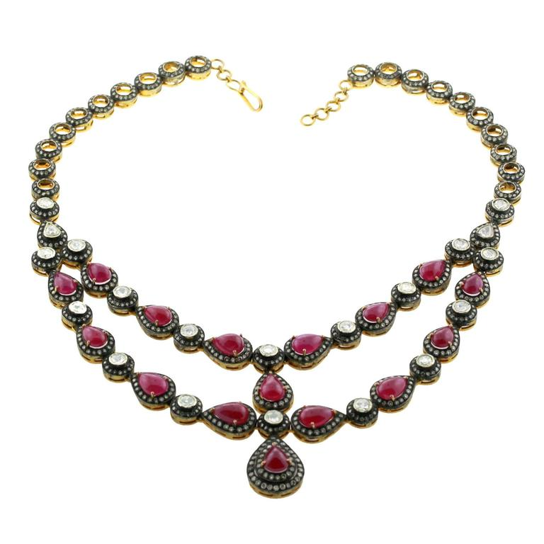 Gorgeous Ruby Rosecut Diamond Silver Gold Necklace