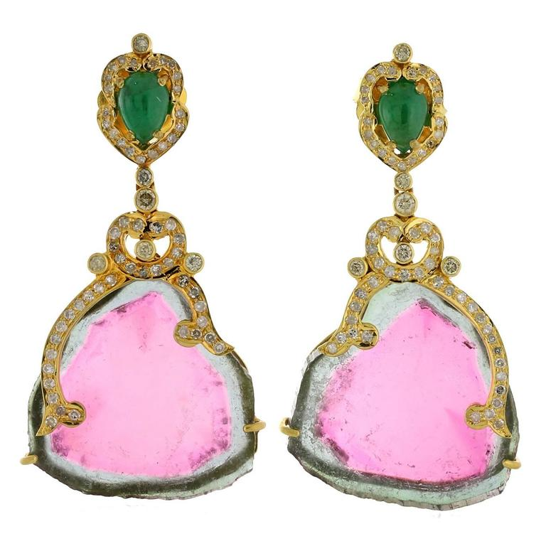 Ravishing Watermelon Tourmaline Gold Drop Earrings For Sale