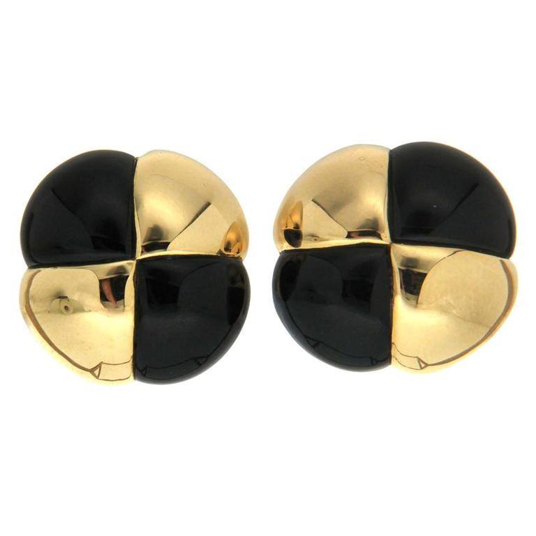 Black Jade Gold Corner Quartet Earrings
