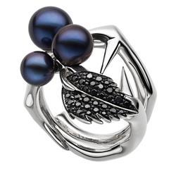Shaun Leane Silver Petrol Freshwater Pearl Black Spinel Blackthorn Cluster Ring