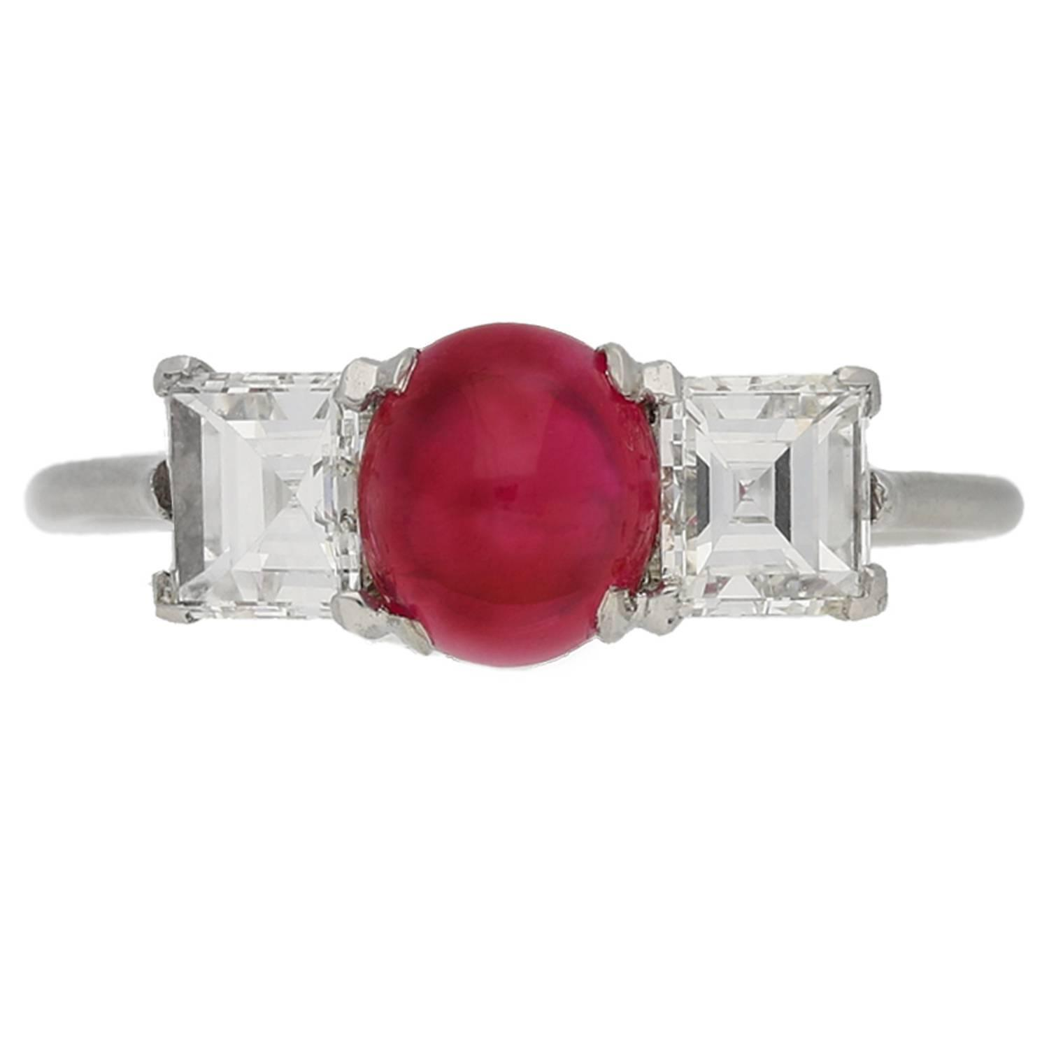 Cartier Paris Art Deco Cabochon Burma Ruby Diamond Ring For Sale At 1stdibs