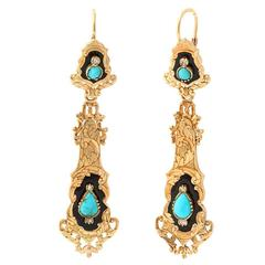 Antique French Enamel Turquoise Diamond Chandelier Earrings
