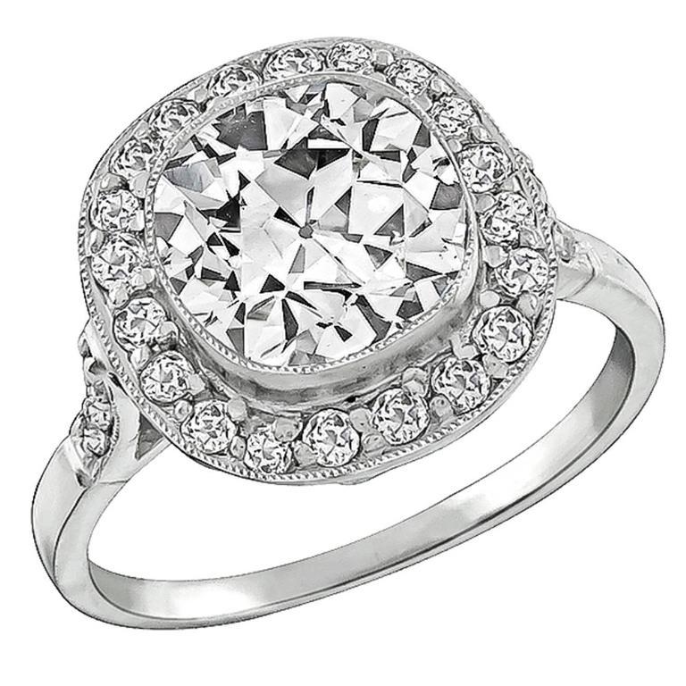 Art Deco 2.55 Carat Diamond Platinum Engagement Ring