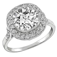 Art Deco 2.55 Carat Diamond Platinum Engagement Ring
