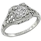Antique Diamond Platinum Engagement Ring