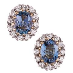 Aquamarine Diamond Gold Cluster Stud Earrings
