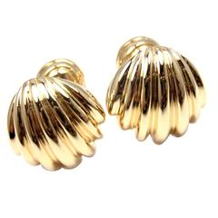 Tiffany & Co. Scalloped Shell Gold Cufflinks