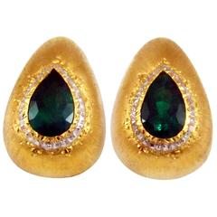 Mario Buccellati Emerald Diamond Gold Ear Clips