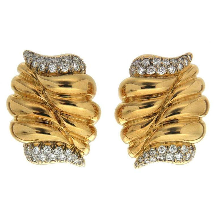 Diamond Gold Double Cornucopia Earrings For Sale