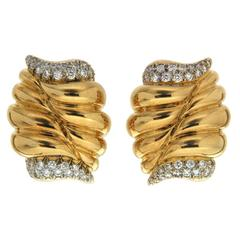 Valentin Magro Gold Diamond Cornucopia Earrings