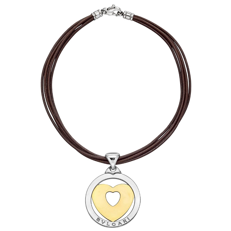 bulgari gold steel quot tondo quot pendant necklace at 1stdibs