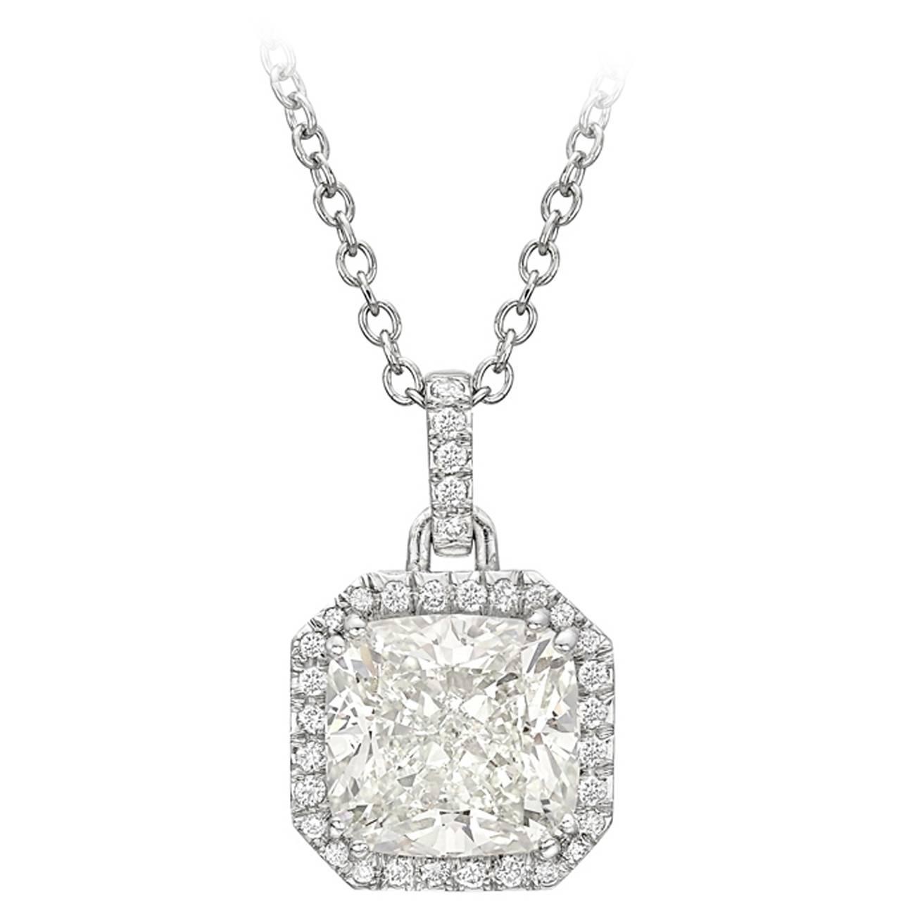 Betteridge 5.08 Carat Cushion-Cut Diamond Pendant at 1stdibs