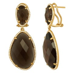 31.70 Carats Smoky Quartz Diamond And Gold Earrings