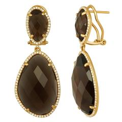 Smoky Quartz Diamond And Gold Earrings