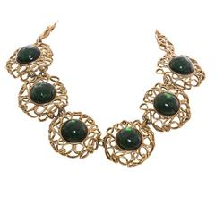 Yves Saint Laurent Gilt Metal And Glass Cabachon Necklace, Circa 1980's