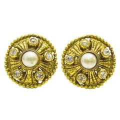 1970s Chanel Rhinestone Pearl Gold Earrings
