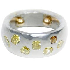 Yellow Diamond Platinum Band Ring