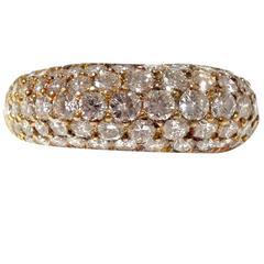 Rare Kurt Wayne 14kt Yellow Gold Diamond Cluster Dome Ring
