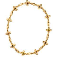 Chanel Rare Multicolor Cabochon Gemstone Gold Short Chain Necklace