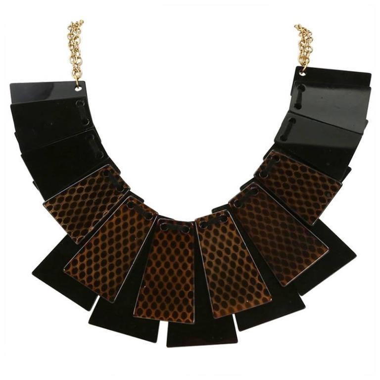 Sriking Trapezoid Celluloid Statement Necklace