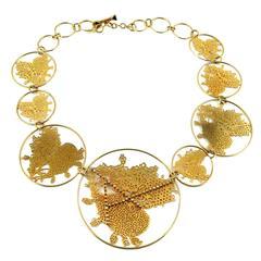 Christian Lacroix Vintage Laser Cut Heart Medallion Necklace