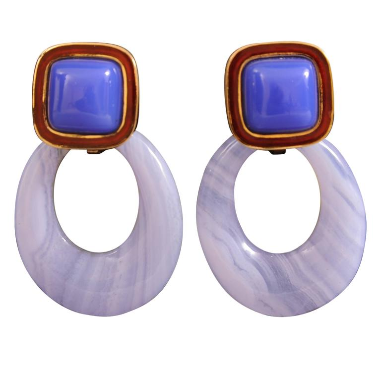 Andrew Clunn Enamel Chalcedony Blue Lace Agate Drop Gold Earrings