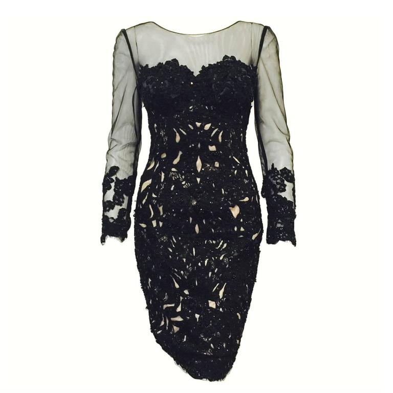 Mandalay Long Sleeve Black Lace Cocktail Dress With Beads And