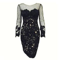 Mandalay Long Sleeve Black Lace Cocktail Dress With  Beads and Sequins