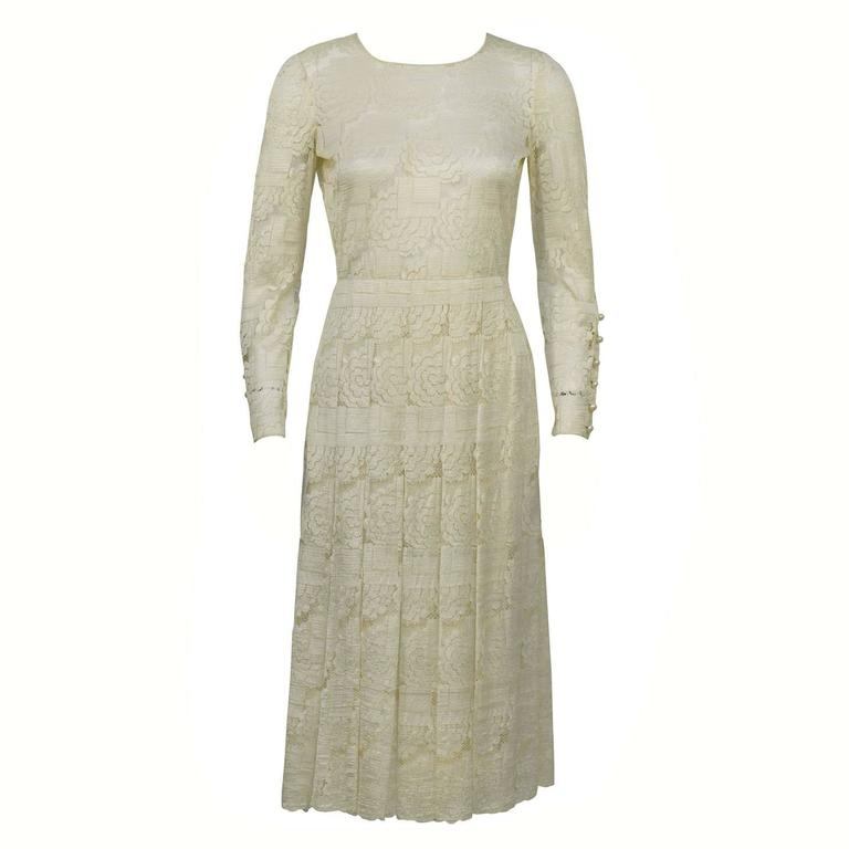 Cream Lace Tea Length Dress