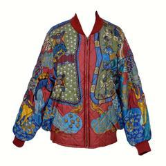 """HERMES """"Art des Steppes""""  Vintage Bomber Silk Jacket NEW  50"""