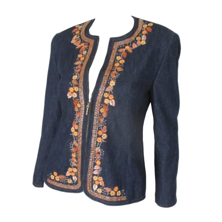 escada embroided jeans jacket For Sale