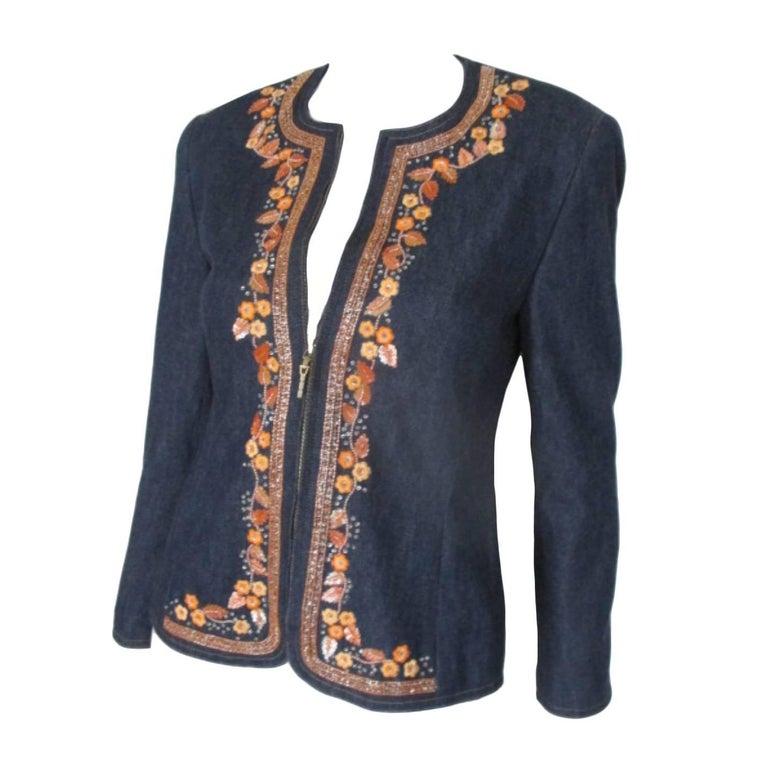 Escada Orange Flowers Sequin Jeans Jacket For Sale