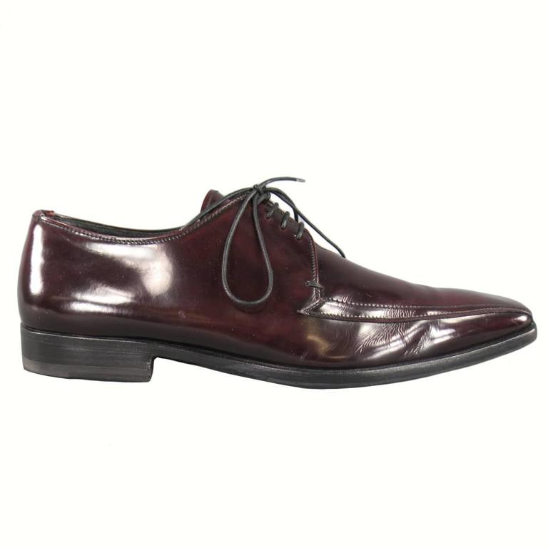 PRADA Size 8 Burgundy Patent Leather Pointed Square Toe Lace Up For Sale