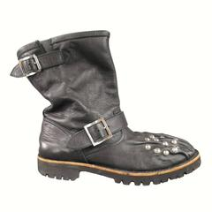 COMME des GARCONS Toa Size 9 Black Leather Wrinkle Studded Engeneer Boots