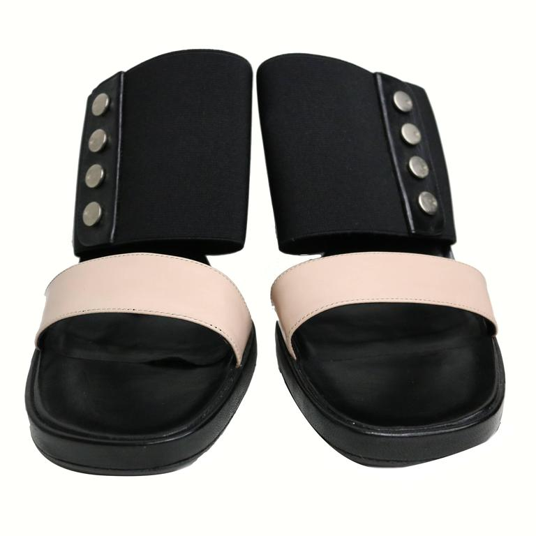 Chanel Bi Tone Strap Wedge Shoes