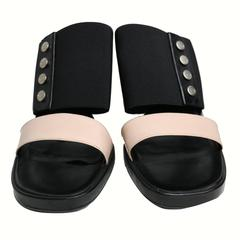 Chanel Bi Tone Strap Wedge Shoes