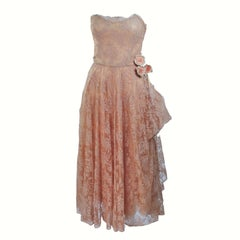 CEIL CHAPMAN 1950's Nude Lace Strapless Cocktail Dress with Flowers Size 4