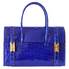 HERMES DRAG 26 Bag Bleu (blue) Electric Gold Hardware Uber Rare nwt