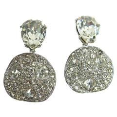 Kenneth Jay Lane Silver Hammered Circle Earrings with Rhinestones