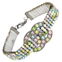 Chanel Multicolored Tutti Fruitti Crystal CC Bracelet with Dust Bag and Box