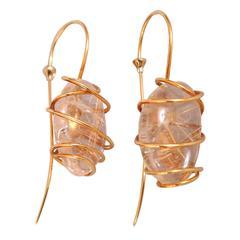 Tina Chow Striking Gold Wrapped Quartz Earrings