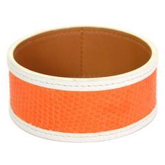 Hermes Orange and White Lizard Bangle Bracelet