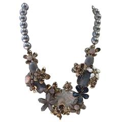 Philippe Ferrandis Glass Pearl and Crystal Floral Motif Necklace