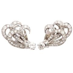 Retro Diamond and Platinum 'Feather' Earrings