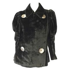Antique Victorian Velvet Coat with Large Mother of Pearl Buttons