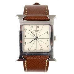 Hermes Tan Heure H MM Watch w/ Grey & Black Extra Bands