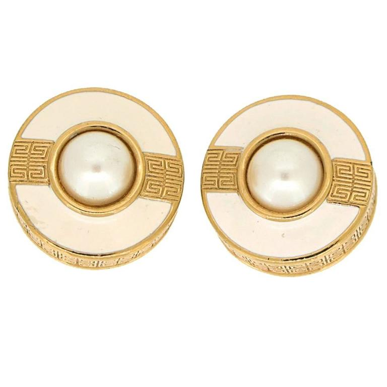 Givenchy Vintage Gold Earrings with Pearl 1